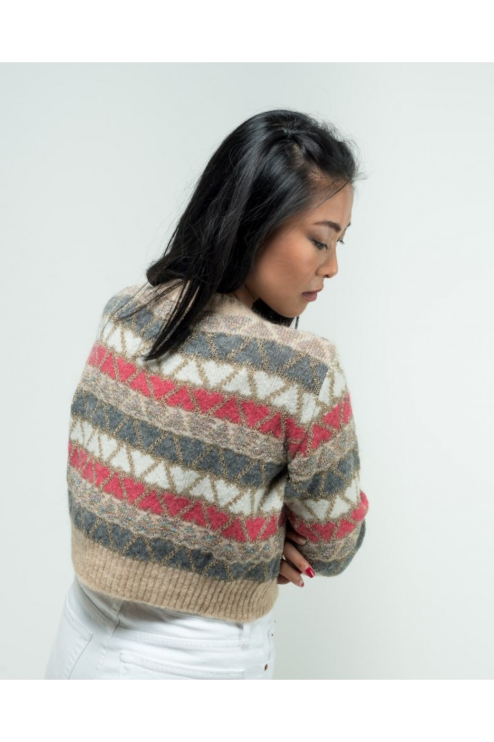 Crewneck sweater with hearts