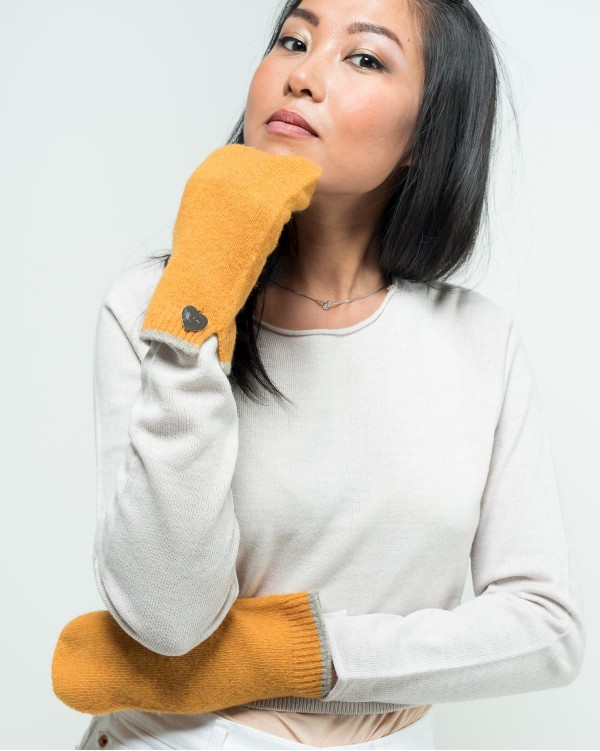 Mustard felted mittens
