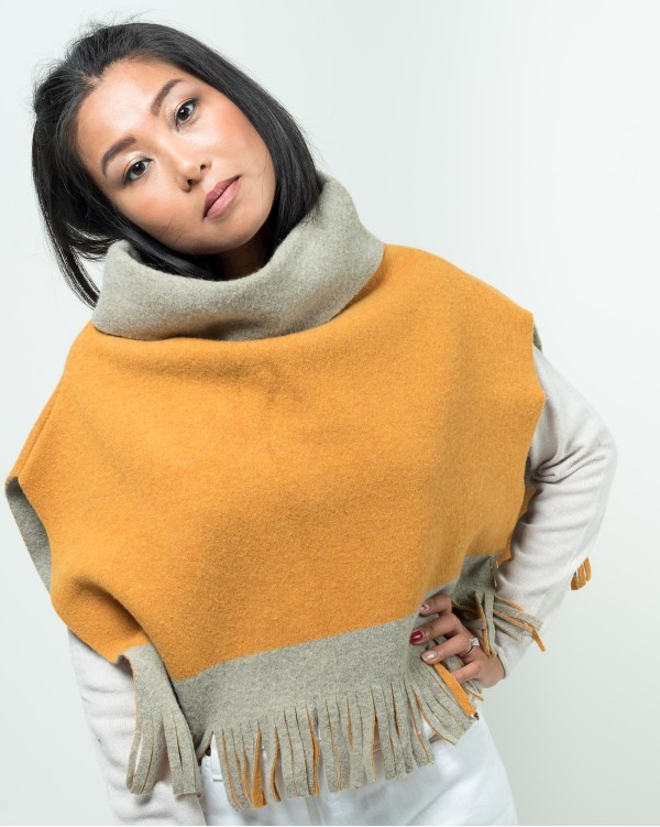 Mustard Felted Poncho