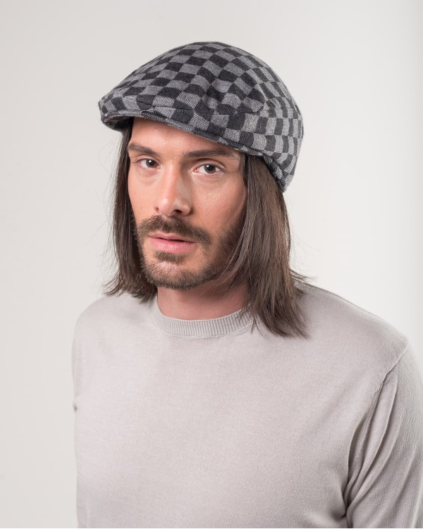 Checkered flat cap